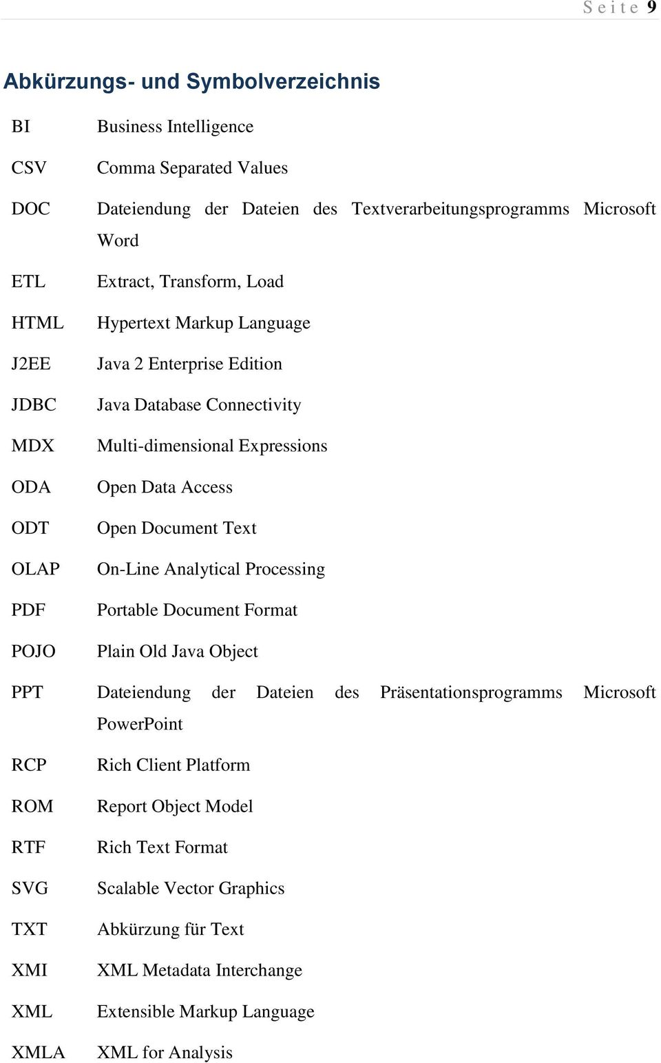 Access Open Document Text On-Line Analytical Processing Portable Document Format Plain Old Java Object PPT Dateiendung der Dateien des Präsentationsprogramms Microsoft PowerPoint RCP