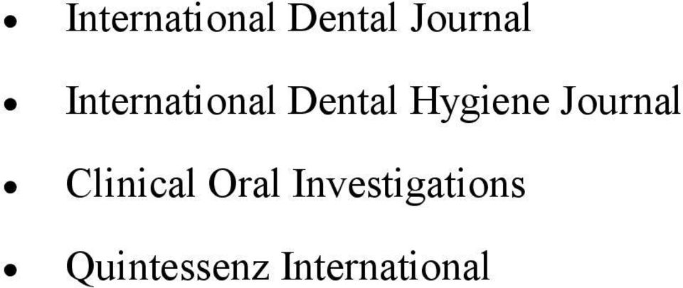 Journal Clinical Oral