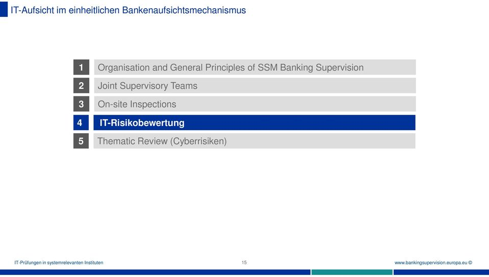 Inspections IT-Risikobewertung 5 Thematic Review