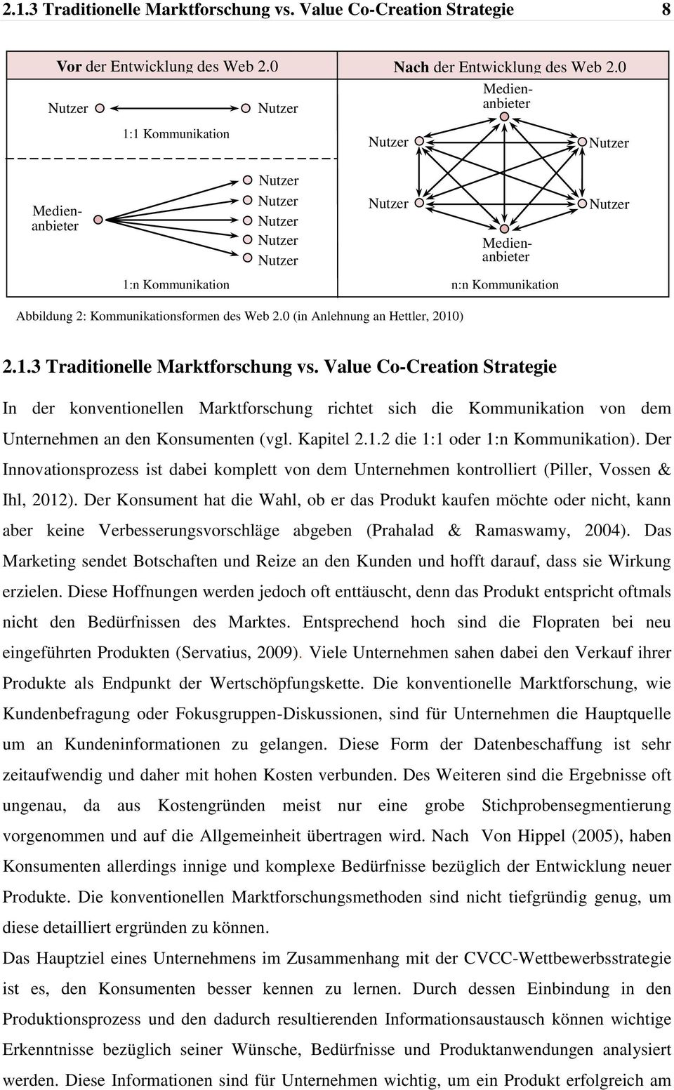 Kommunikationsformen des Web 2.0 (in Anlehnung an Hettler, 2010) 2.1.3 Traditionelle Marktforschung vs.