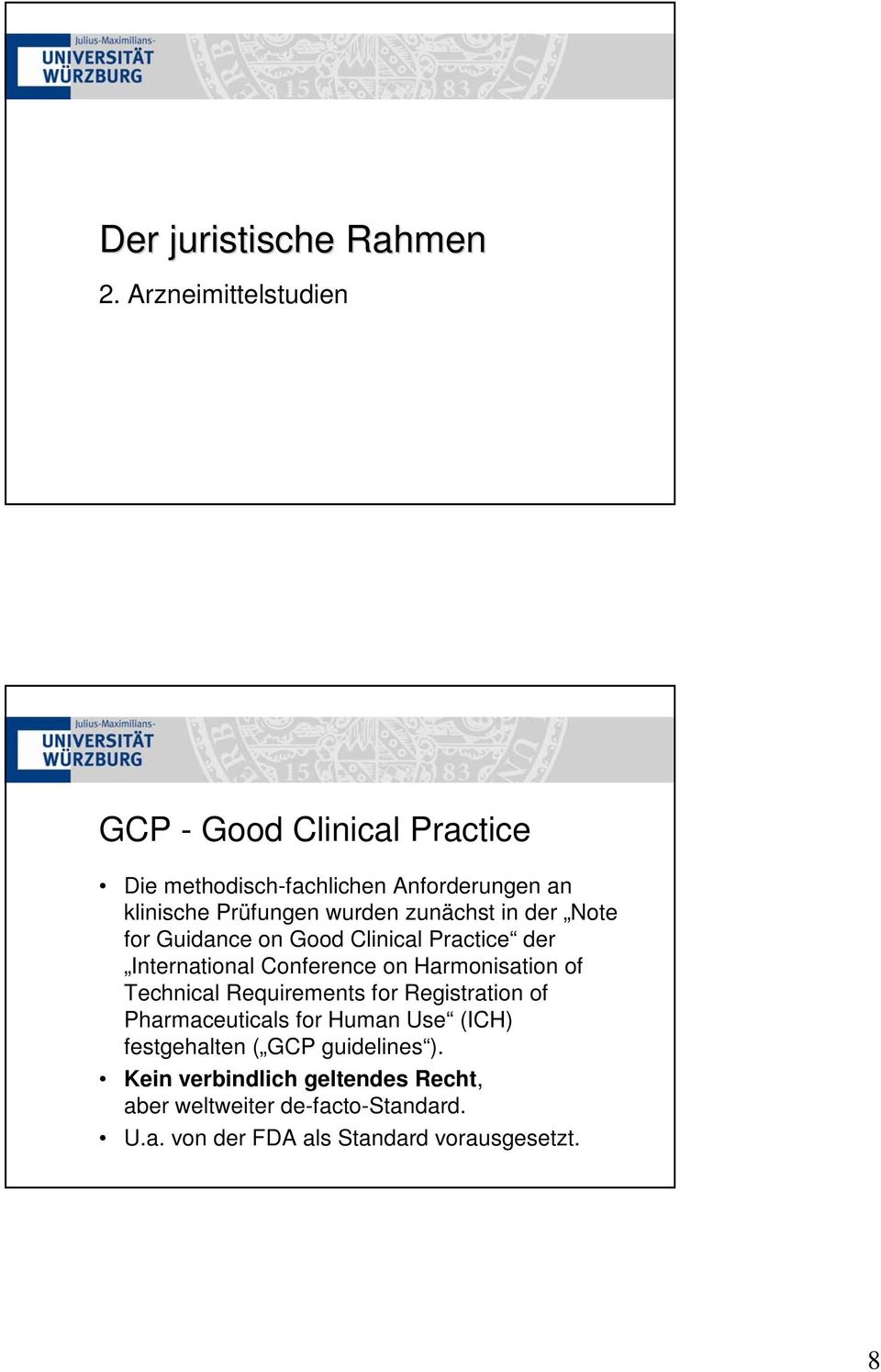 zunächst in der Note for Guidance on Good Clinical Practice der International Conference on Harmonisation of Technical
