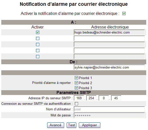 63230-506-204A2 Carte Ethernet pour le Power Meter série 800 de POWERLOGIC 02/2010 Configuration Configuration de la notification d alarme par courrier électronique Action 1.