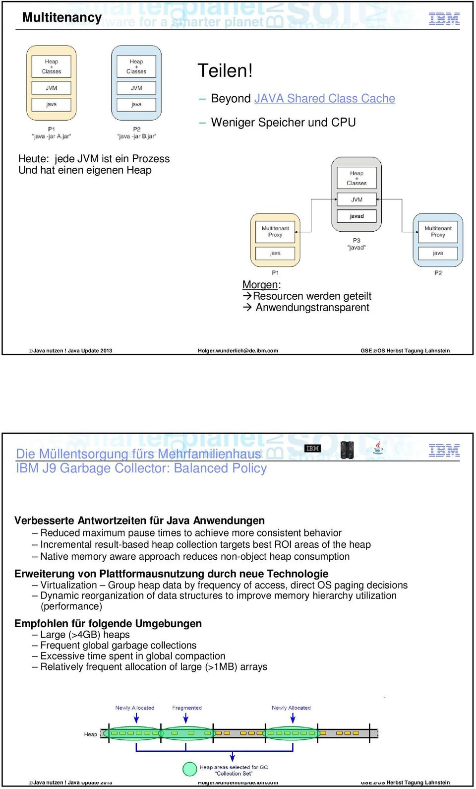 Mehrfamilienhaus IBM J9 Garbage Collector: Balanced Policy Verbesserte Antwortzeiten für Java Anwendungen Reduced maximum pause times to achieve more consistent behavior Incremental result-based heap