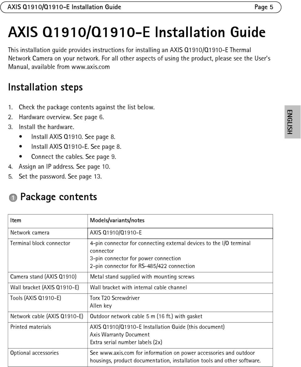 Hardware overview. See page 6. 3. Install the hardware. Install AXIS Q1910. See page 8. Install AXIS Q1910-E. See page 8. Connect the cables. See page 9. 4. Assign an IP address. See page 10. 5.