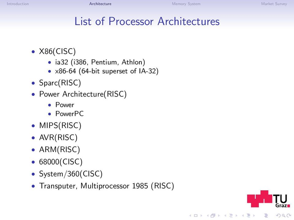 of IA-32) Sparc(RISC) Power Architecture(RISC) Power PowerPC MIPS(RISC)