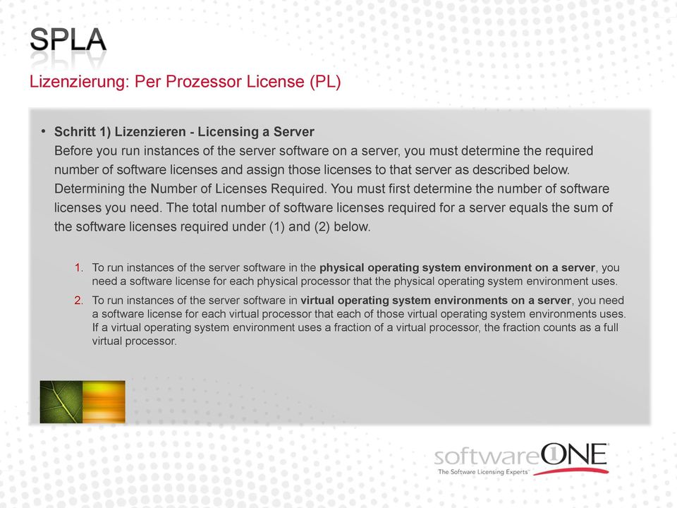 The total number of software licenses required for a server equals the sum of the software licenses required under (1) and (2) below. 1.