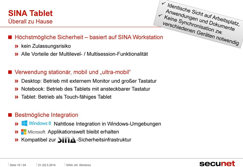 Notebook: Betrieb des Tablets mit ansteckbarer Tastatur Tablet: Betrieb als Touch-fähiges Tablet Bestmögliche Integration Windows 8