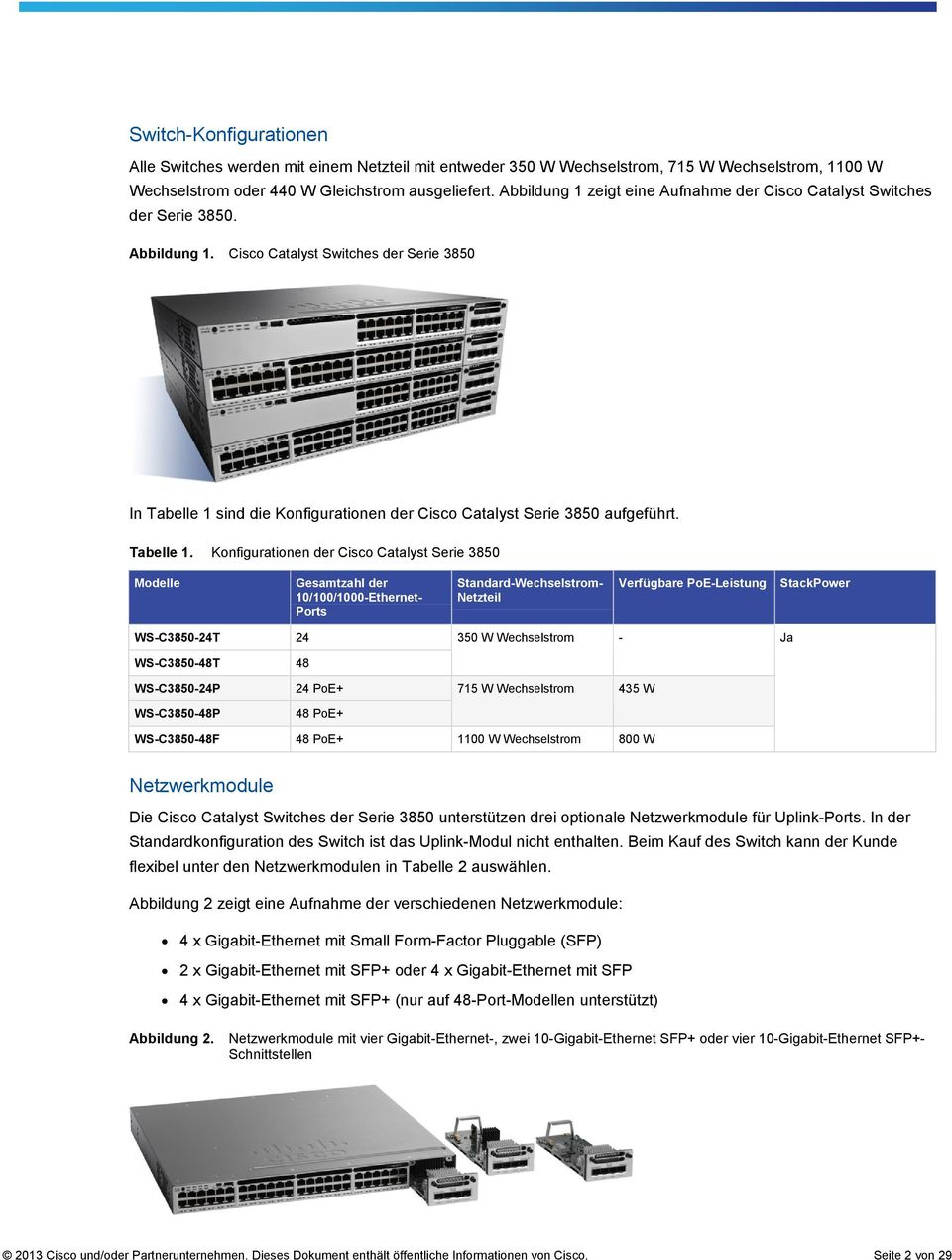 Cisco Catalyst Switches der Serie 3850 In Tabelle 1
