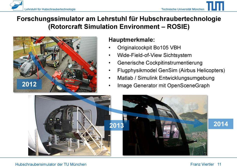 Cockpitinstrumentierung Flugphysikmodel GenSim (Airbus Helicopters) Matlab / Simulink