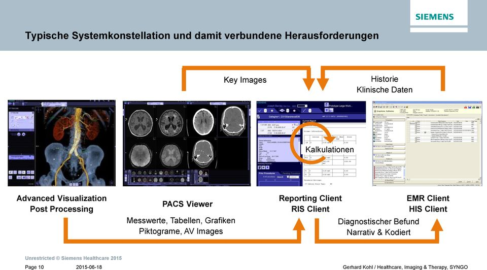 PACS Viewer Messwerte, Tabellen, Grafiken Piktograme, AV Images Reporting