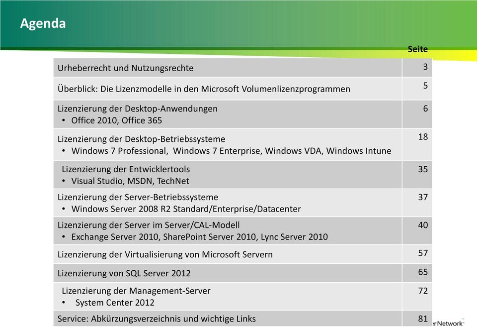 Server-Betriebssysteme Windows Server 2008 R2 Standard/Enterprise/Datacenter Lizenzierung der Server im Server/CAL-Modell Exchange Server 2010, SharePoint Server 2010, Lync Server 2010