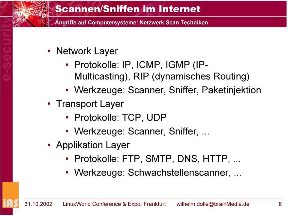 Layer Protokolle: TCP, UDP Werkzeuge: Scanner, Sniffer,... Applikation Layer Protokolle: FTP, SMTP, DNS, HTTP,.