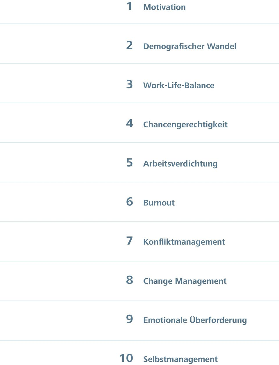 Arbeitsverdichtung 6 Burnout 7 Konfliktmanagement