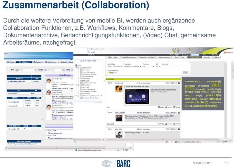 Workflows, Kommentare, Blogs, Dokumentenarchive,