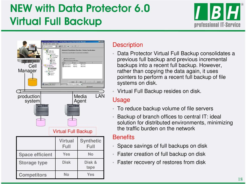 Description Data Protector Virtual Full Backup consolidates a previous full backup and previous incremental backups into a recent full backup.