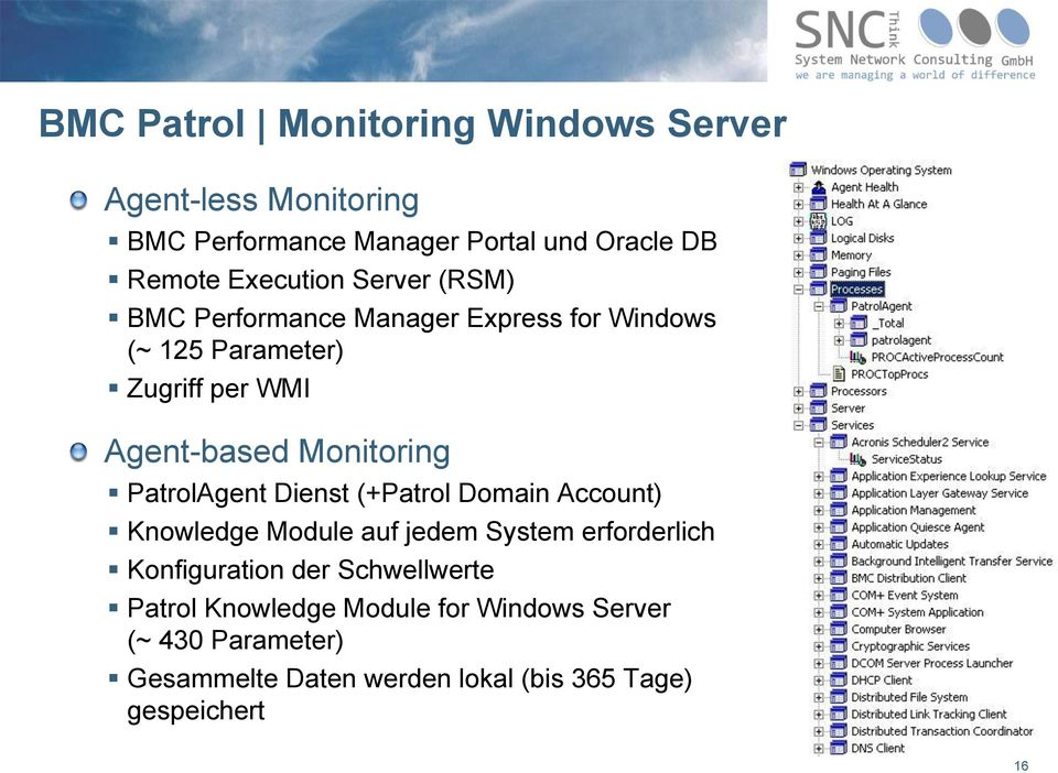 Monitoring PatrolAgent Dienst (+Patrol Domain Account) Knowledge Module auf jedem System erforderlich Konfiguration der