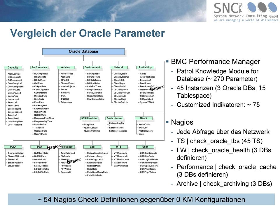 Netzwerk - TS check_oracle_tbs (45 TS) - LW check_oracle_health (3 DBs definieren) - Performance