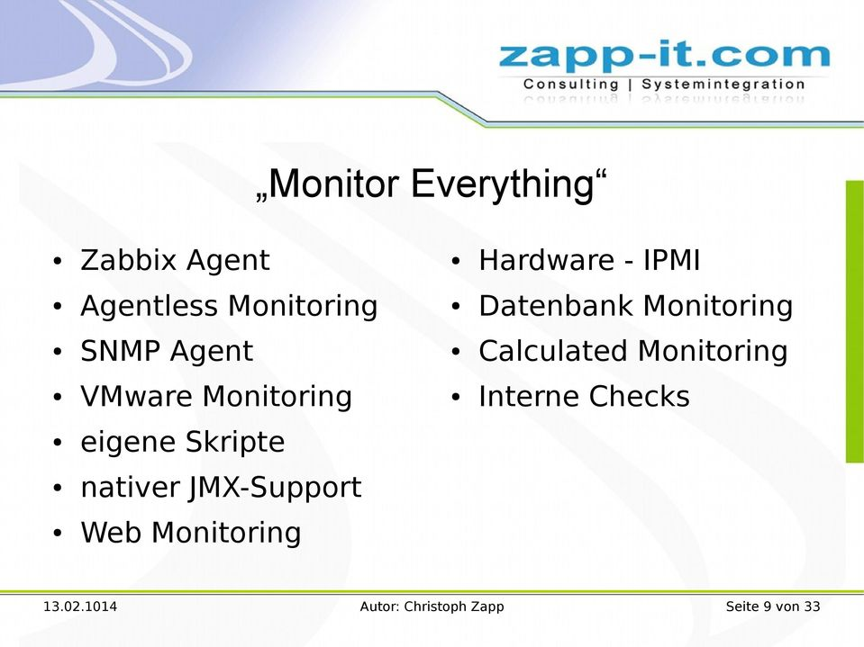 Monitoring VMware Monitoring Interne Checks eigene Skripte