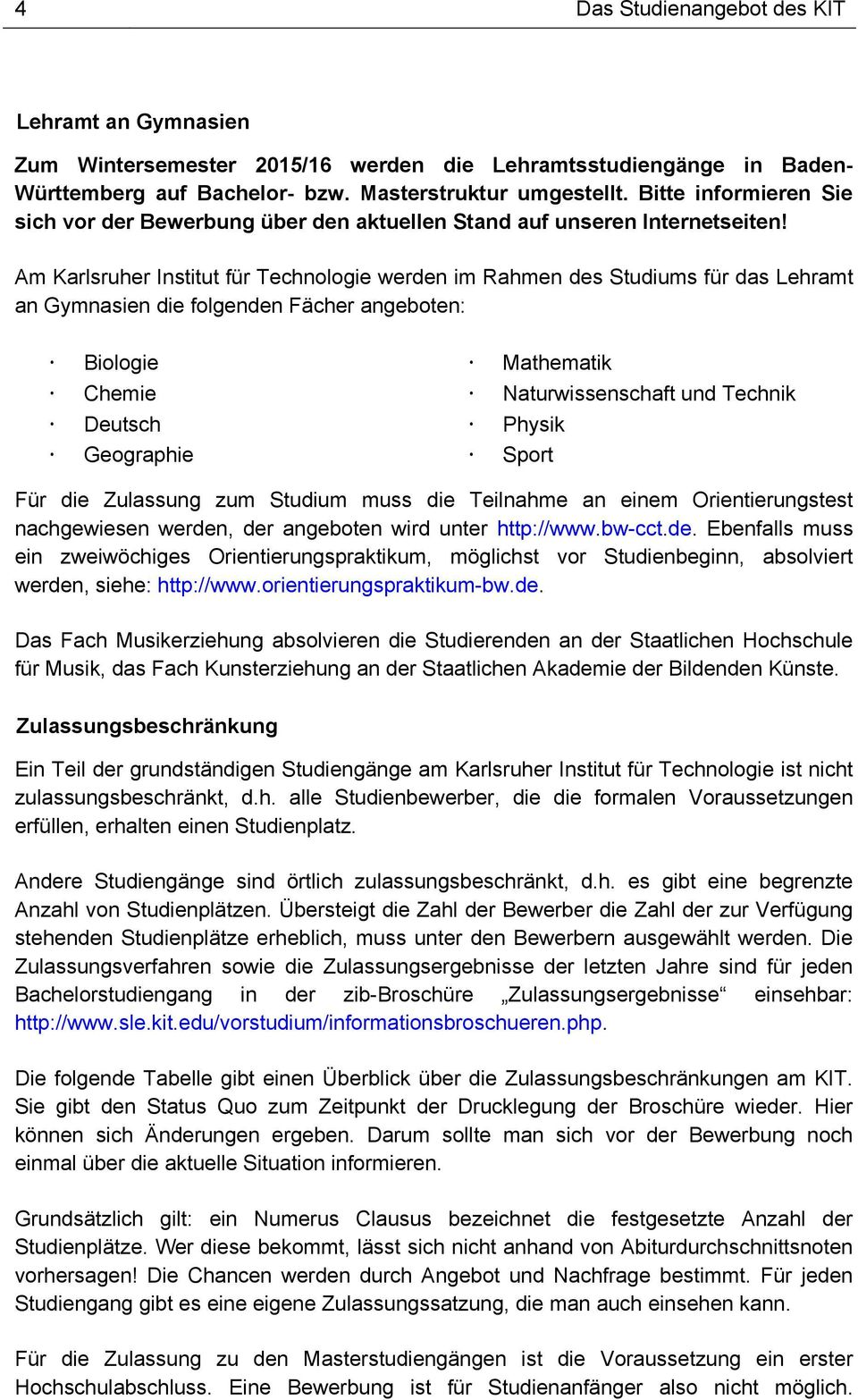 Studium am karlsruher institut f r technologie kit pdf for Physik studium nc