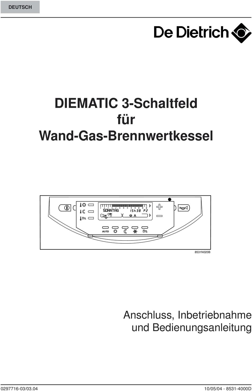 diematic 3 schaltfeld f r wand gas brennwertkessel pdf. Black Bedroom Furniture Sets. Home Design Ideas