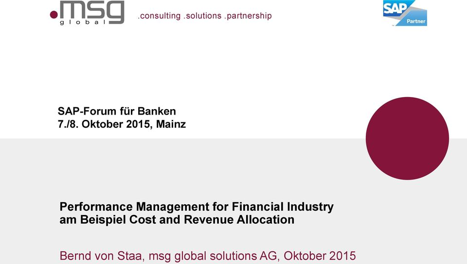 Oktober 2015, Mainz Performance Management for