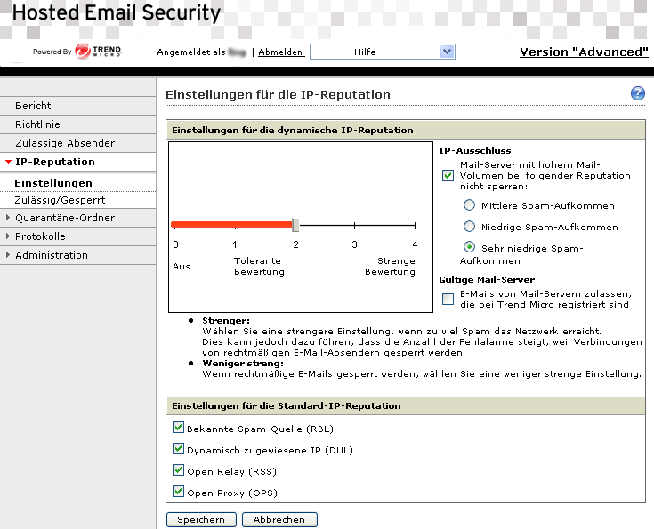 Trend Micro Hosted Email Security Administratorhandbuch Einstellungen für die IP-Reputation Hosted Email Security kann die IP-Reputationsfunktionen der Trend Micro Email Reputation Services (ERS)