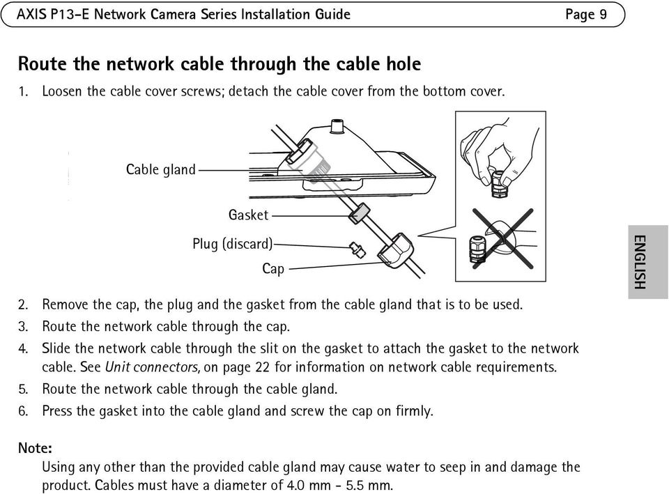 Slide the network cable through the slit on the gasket to attach the gasket to the network cable. See Unit connectors, on page 22 for information on network cable requirements. 5.