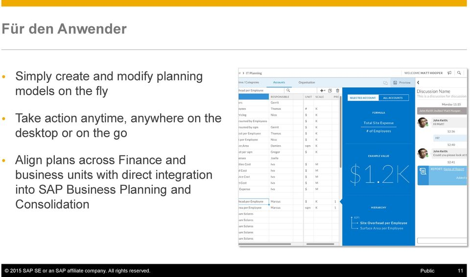Finance and business units with direct integration into SAP Business Planning