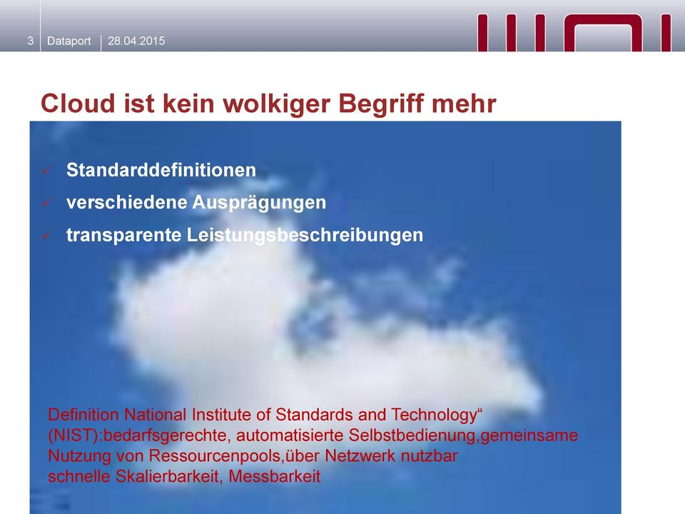transparente Leistungsbeschreibungen Definition National Institute of Standards and