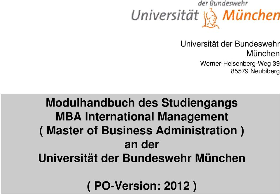 International Management ( Master of Business