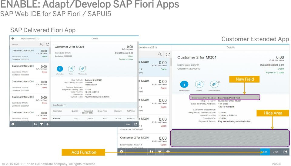 Extended App New Field Hide Area Add Function 2015 SAP