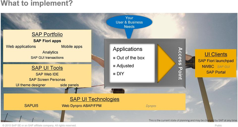 SAP Web IDE SAP Screen Personas Applications Out of the box Adjusted DIY Access Point UI Clients SAP Fiori launchpad NWBC SAP GUI