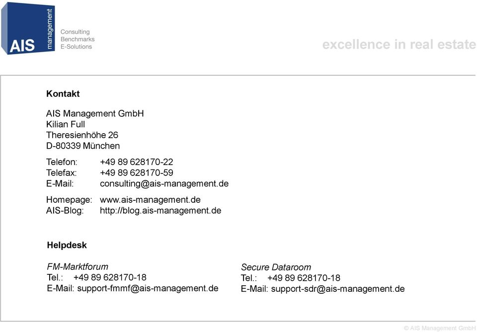 ais-management.de AIS-Blog: http://blog.ais-management.de Helpdesk FM-Marktforum Tel.