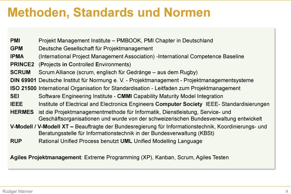 - Projektmanagement - Projektmanagementsysteme ISO 21500 International Organisation for Standardisation - Leitfaden zum Projektmanagement SEI IEEE Software Engineering Institute - CMMI Capability