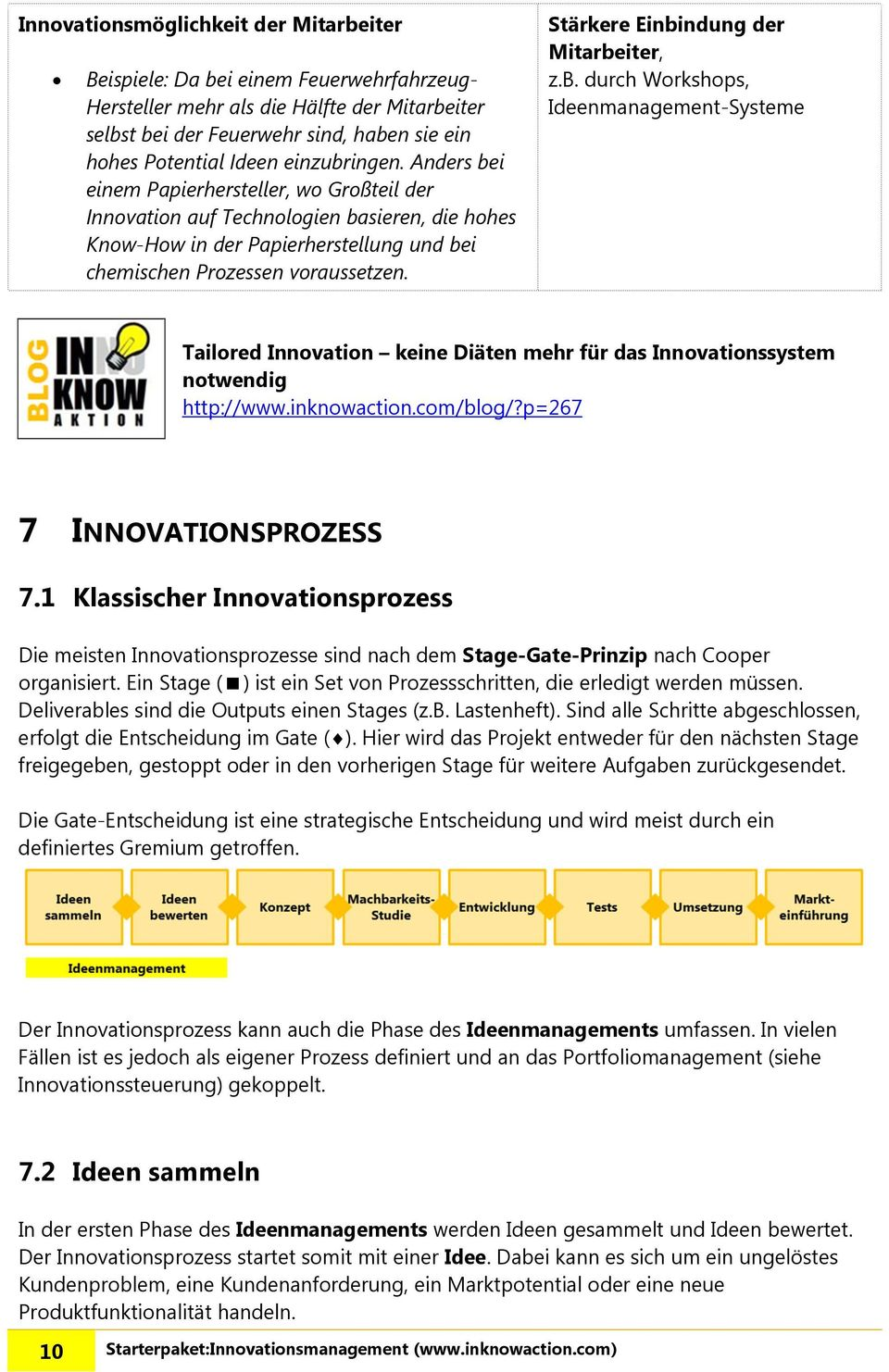 Stärkere Einbindung der Mitarbeiter, z.b. durch Workshops, Ideenmanagement-Systeme Tailored Innovation keine Diäten mehr für das Innovationssystem notwendig http://www.inknowaction.com/blog/?