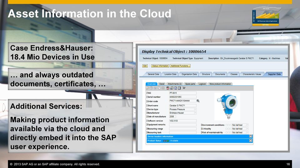 Services: Making product information available via the cloud and directly embed it