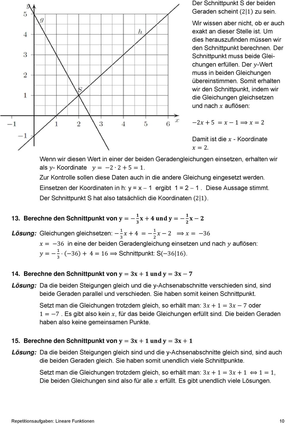 Repetitionsaufgaben: Lineare Funktionen - PDF