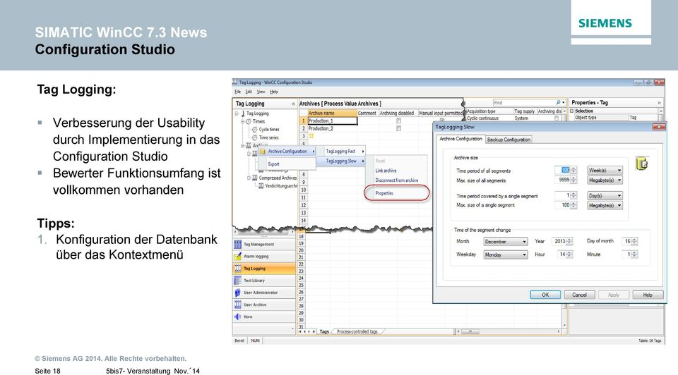 Usability durch Implementierung in das Configuration Studio