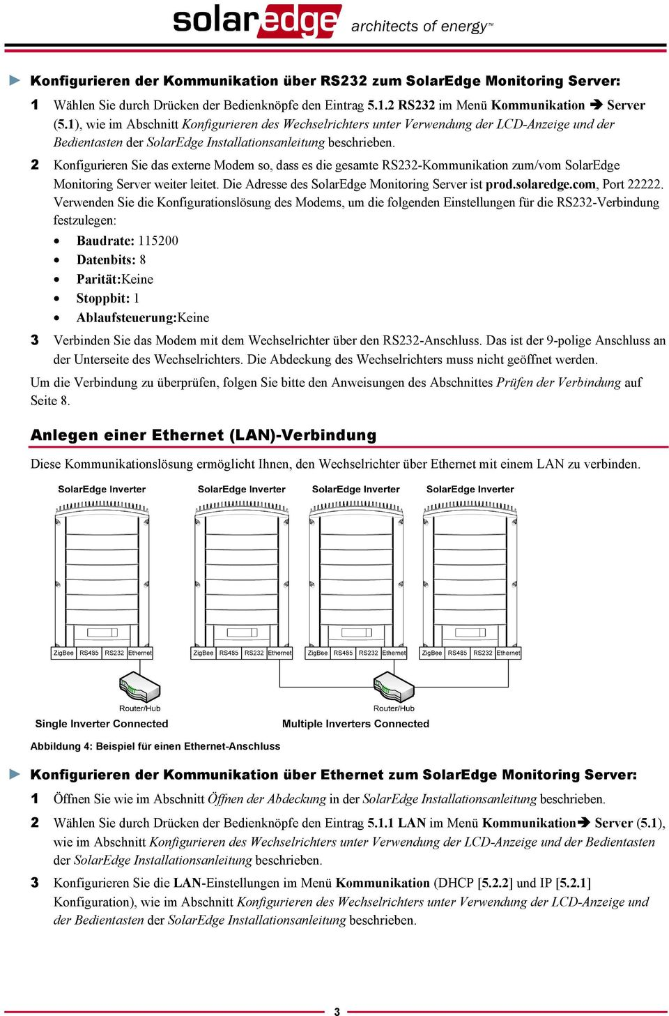 2 Konfigurieren Sie das externe Modem so, dass es die gesamte RS232-Kommunikation zum/vom SolarEdge Monitoring Server weiter leitet. Die Adresse des SolarEdge Monitoring Server ist prod.solaredge.