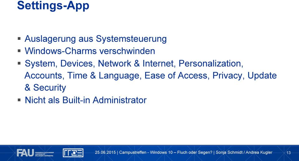 Internet, Personalization, Accounts, Time & Language,