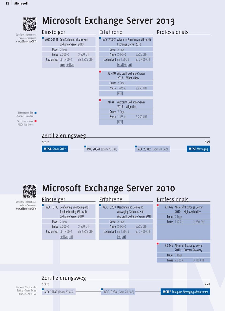225 CHF MOC 20342 Advanced Solutions of Microsoft Exchange Server 2013 Preise 2.475 3.925 CHF Customized ab 1.500 ab 2.400 CHF AD 440 Microsoft Exchange Server 2013 What s New Dauer 2 Tage Preise 1.