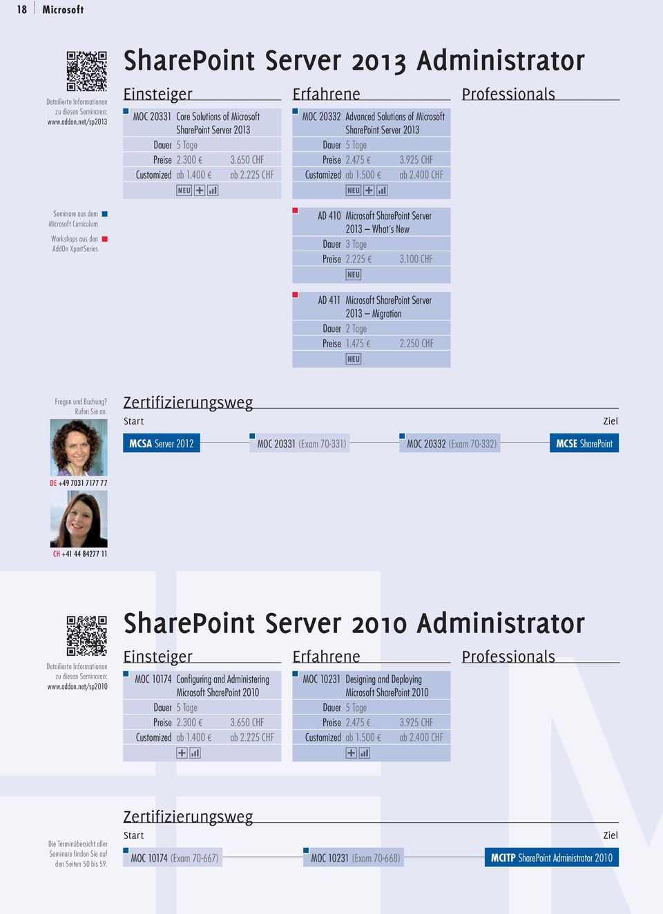 225 CHF MOC 20332 Advanced Solutions of Microsoft SharePoint Server 2013 Preise 2.475 3.925 CHF Customized ab 1.500 ab 2.