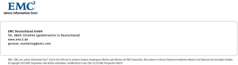 Marken der EMC Corporation.
