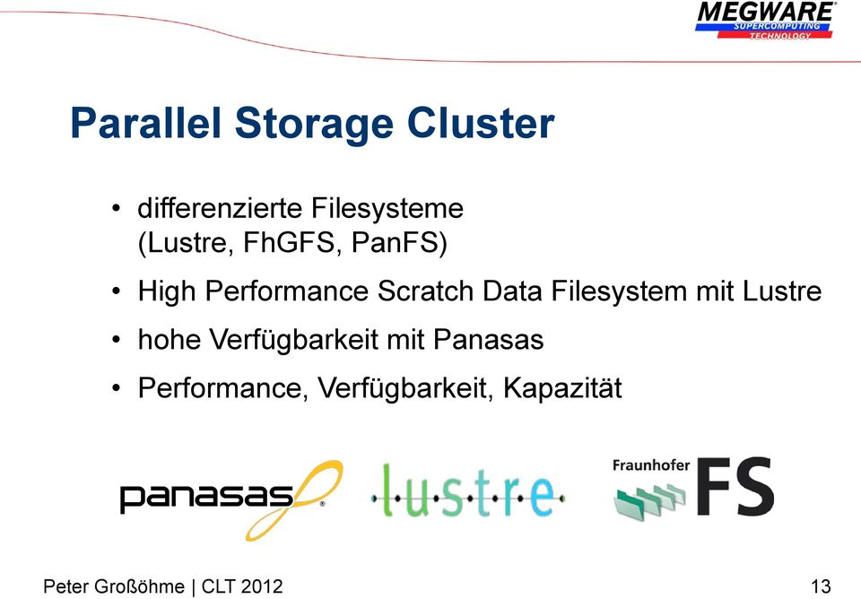 Performance Scratch Data Filesystem mit Lustre