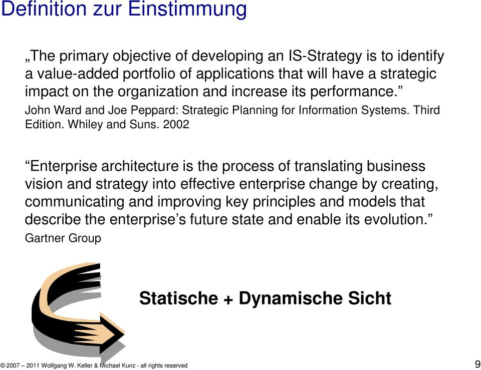 2002 Enterprise architecture is the process of translating business vision and strategy into effective enterprise change by creating, communicating and improving key