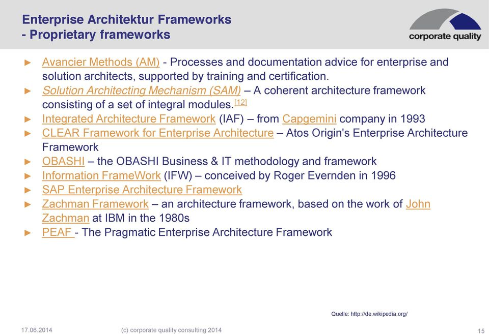 [12] Integrated Architecture Framework (IAF) from Capgemini company in 1993 CLEAR Framework for Enterprise Architecture Atos Origin's Enterprise Architecture Framework OBASHI the OBASHI Business & IT