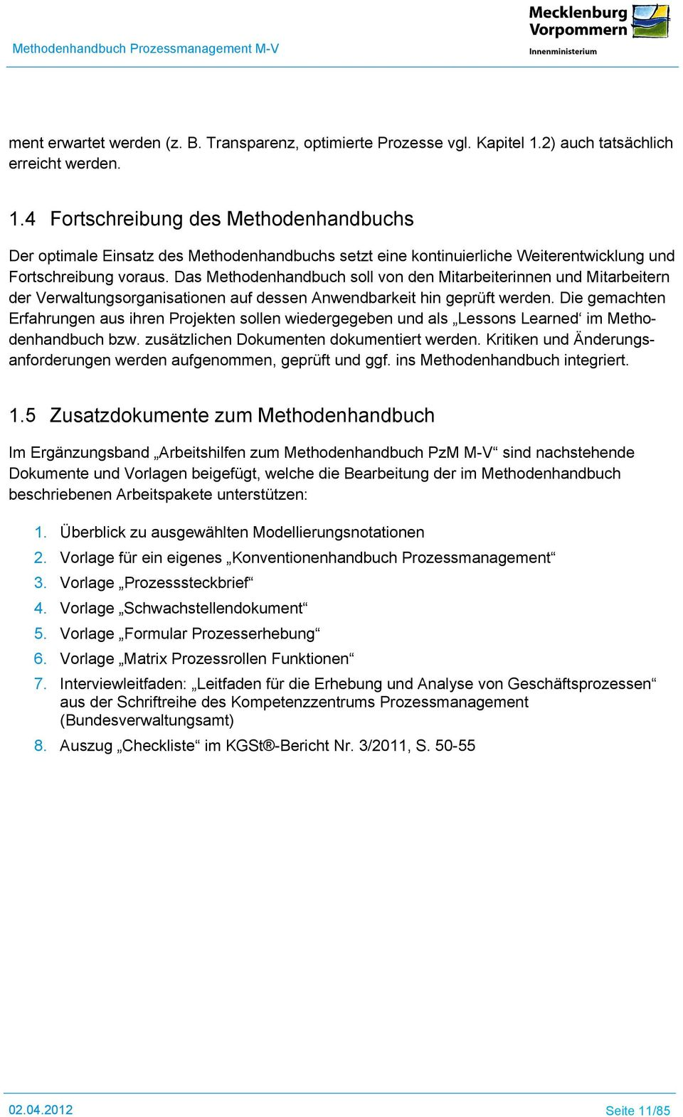 Methodenhandbuch Prozessmanagement M-V - PDF