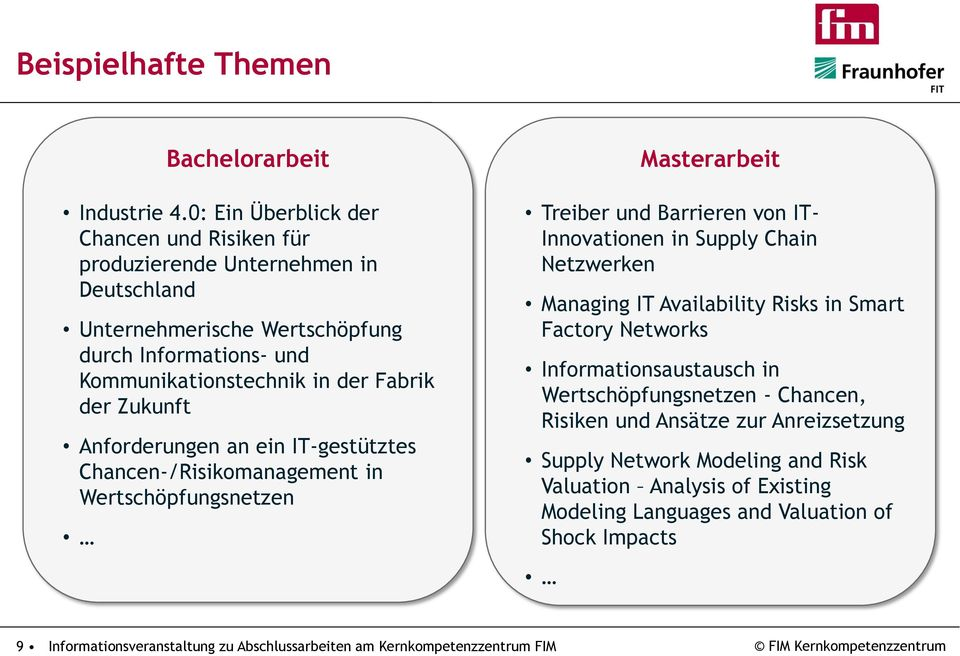Anforderungen an ein IT-gestütztes Chancen-/Risikomanagement in Wertschöpfungsnetzen Masterarbeit Treiber und Barrieren von IT- Innovationen in Supply Chain Netzwerken Managing IT Availability