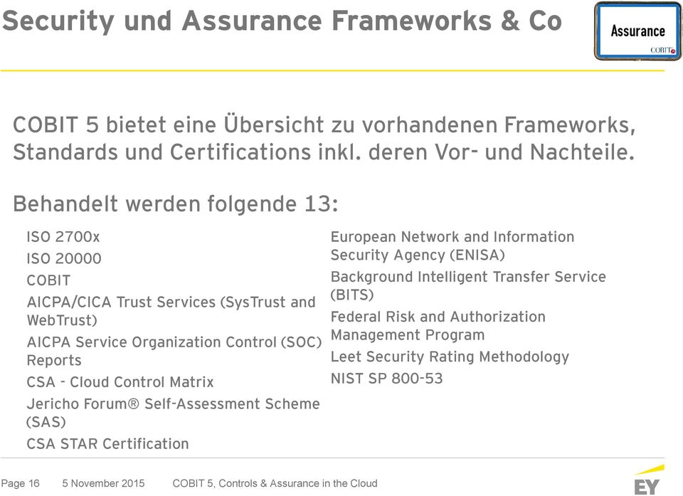 Control Matrix Jericho Forum Self-Assessment Scheme (SAS) CSA STAR Certification European Network and Information Security Agency (ENISA) Background Intelligent