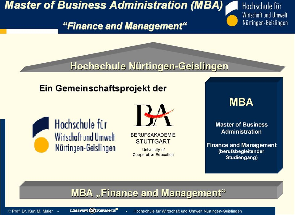 STUTTGART University of Cooperative Education Master of Business Administration